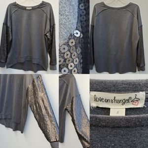 NEW Love on a Hanger Sequin sleeve gray